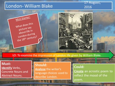 themes in london by blake london william blake by f j o teaching resources tes