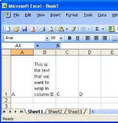 office space wrapping text in an excel spreadsheet
