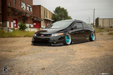 custom honda civic si blue avant garde rims enhancing custom stanced