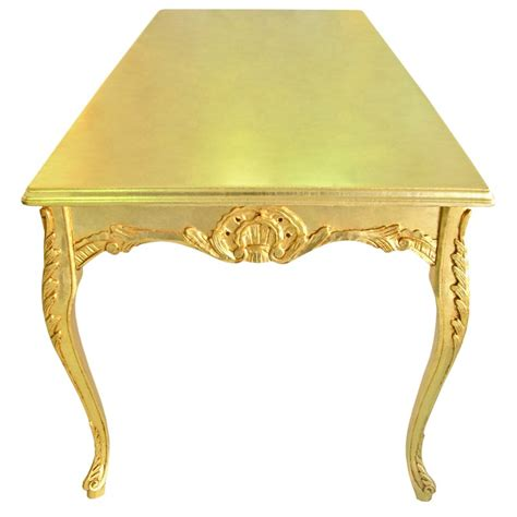 Dining Table Wooden Baroque Gold Leaf Gold Leaf Dining Table