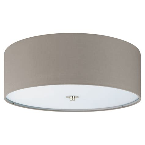 Ceiling Light Types by Eglo 94919 Pasteri Flush Ceiling Light In Taupe And Satin