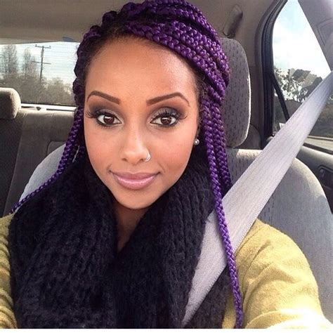 pictures of blue hair braided into brown hair purple box braids naturalhair beauty pinterest my