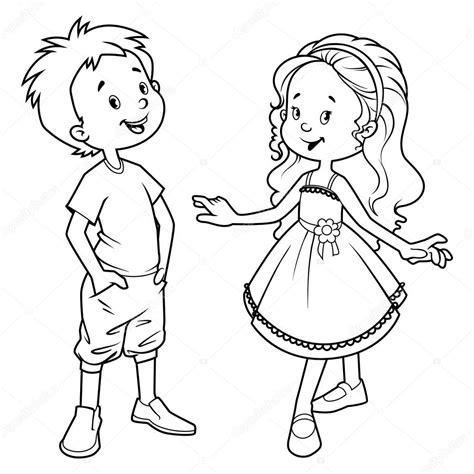 ochen simpatichnye deti malchik  devochka vektornoe