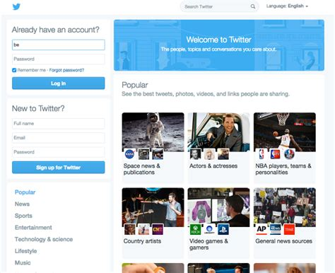 business web design homepage twitter is experimenting with a major homepage design