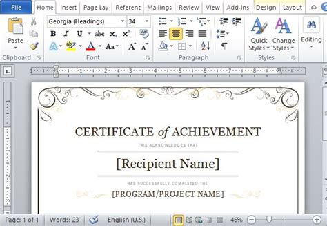 Doc.#580401: Certificate Of Achievement Template For Word