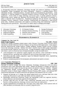 Resume Sample Manager by It Manager Resume Example