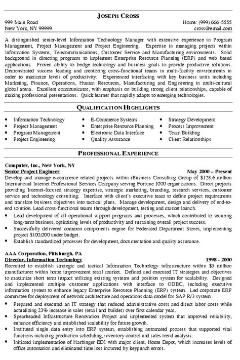 it manager resume format it manager resume exle