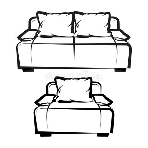 Sofa Sketch Freehand by Chair And Sofa Freehand Drawing Stock Vector Image
