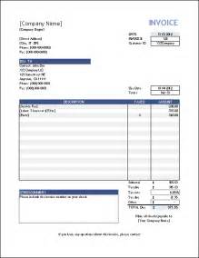 Excel Invoice Template For Mac by Blank Invoice Templates For Mac Printable Invoice Template