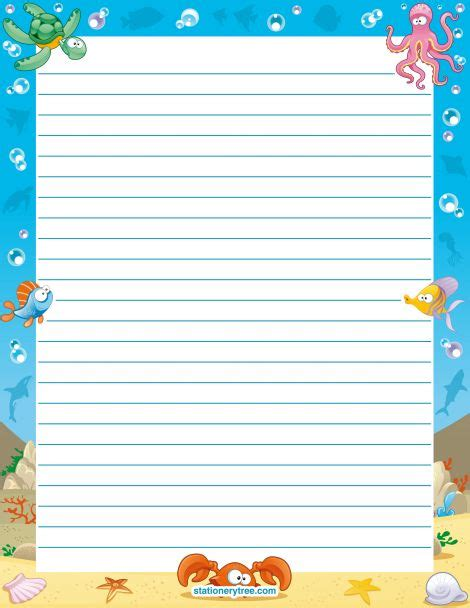 free printable stationery paper without lines printable ocean stationery and writing paper multiple
