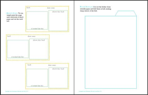 field card template printable blank birder s cards playful learning