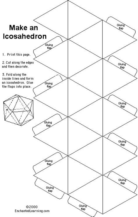 icosahedron template paper template for an icosahedron or for the nerds a d20