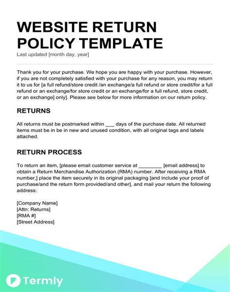 Return Policy Templates Exles Free To Download Termly Return Email Template