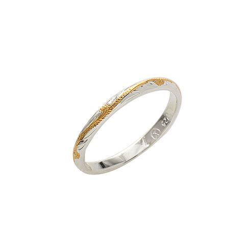 2mm two tone yellow gold plated scroll rings makani