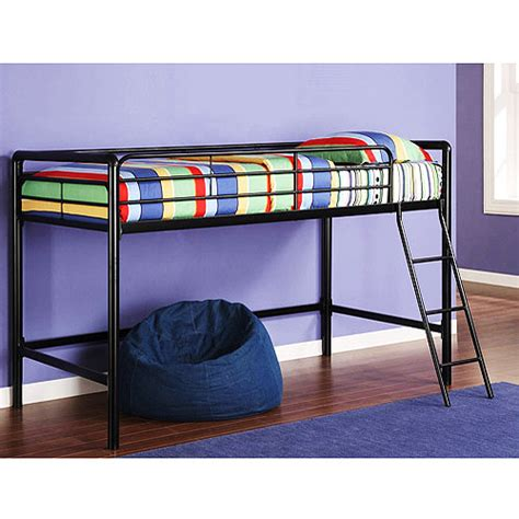 walmart junior loft bed junior metal loft bed with bonus twin mattress bundle walmart com