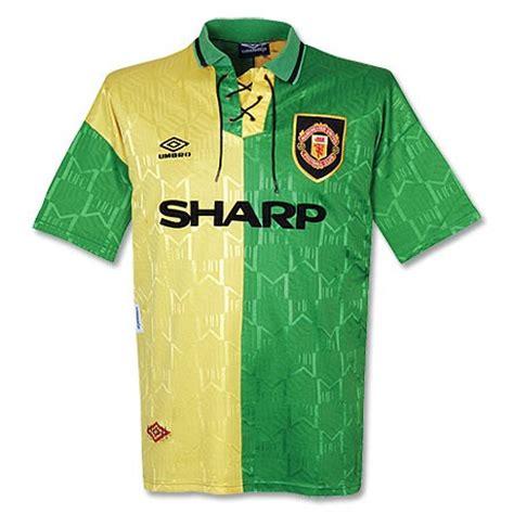 Jersey Mu 3rd 92 92 94 manchester united away yellow green jersey shirt manchester united jersey shirt sale