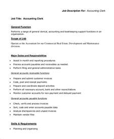 Accounting Clerk Description Sle by Sle Accounting Clerk Description 10 Exles In Pdf