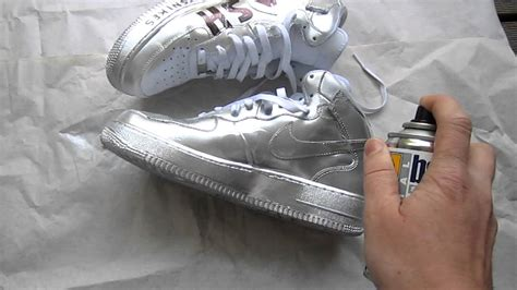 spray painting nike shoes silver painted nike af1
