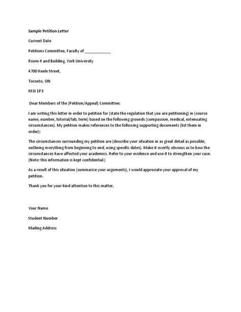 College Petition Letter Sle Petition Letter Docx