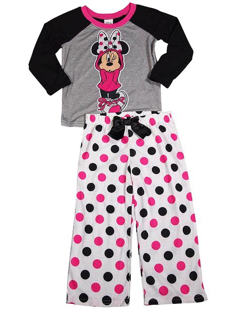 Piyama Minie Mouse White disney sleeve minnie mouse pajamas