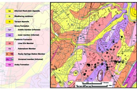 maryland bedrock map geologic map depicts sinkhole susceptibility in maryland