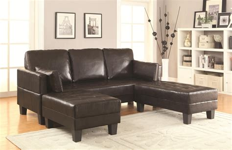 Coaster 300204 Brown Leather Sofa Bed And Ottoman Set