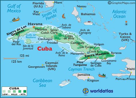cuba on map of world cuba large color map