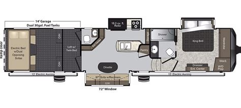 Raptor Rv Floor Plans by New 2017 Keystone Raptor 398ts Fifth Wheel Toy Hauler For