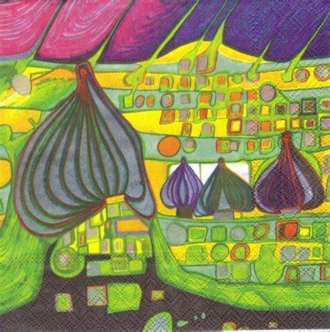 servietten kunst hundertwasser kunst land in gelb sonjas servietten shop