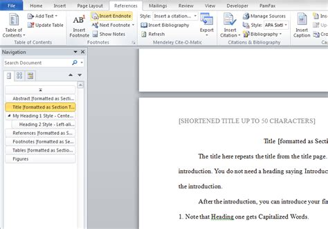 apa format footnotes exle how to add page numbers and a table of contents to word