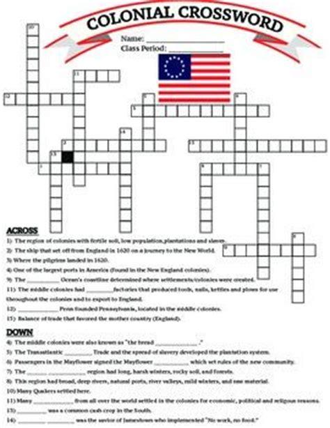 An American Crossword Puzzle U S History 13 Colonies Colonial Crossword Worksheet Printable Homework Meanings Of Words