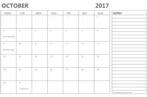 Calendar 2017 Template October October 2017 Calendar Printable With Holidays Free