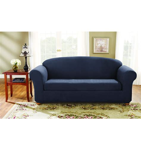Sure Fit Stretch Suede Sofa 2 Piece Bench Seat Slipcover Sure Fit Stretch Suede Sofa Slipcover