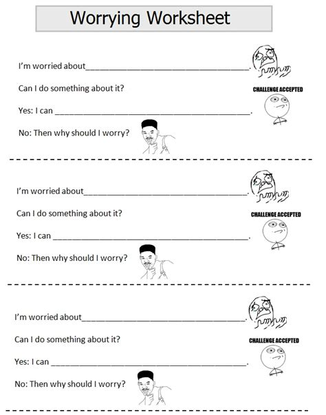 Anxiety Worksheet by Worry Worksheet Work Happiness Treatment Managment