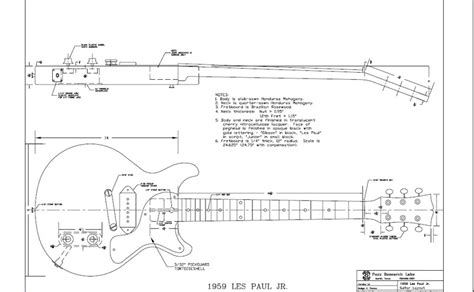 free les paul jr cut style guitar templates