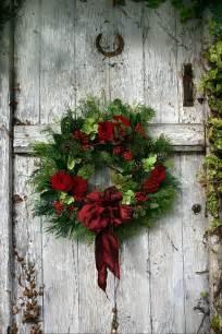 wreath on barn door christmas pinterest