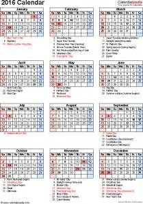 2016 Calendar Printable With Holidays Free 2016 Calendar 16 Free Printable Excel Templates