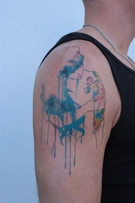 watercolor tattoo barcelona water color my name is mni winyan which translated