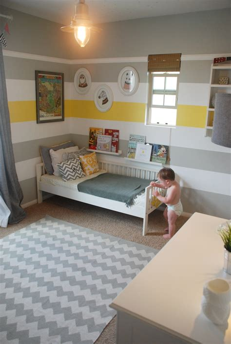 grey kids bedroom yellow and gray striped paint kids nursery modern kids