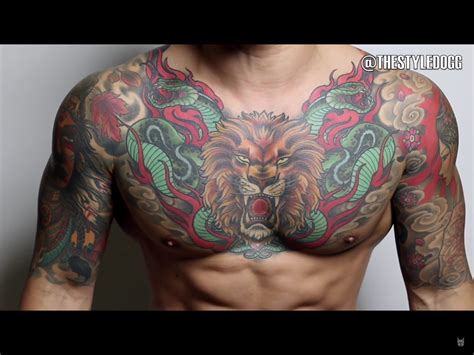 colored tattoos for men chest tattoos chest