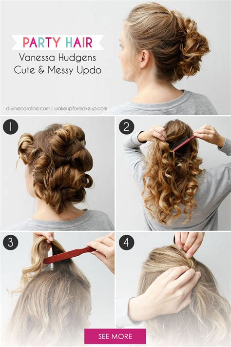 hairstyles diy pinterest party hair try this vanessa hudgens inspired updo more com