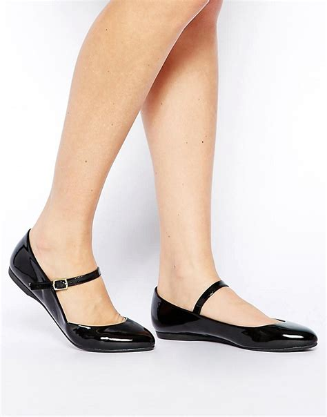 new look new look jeanette black flat shoes at
