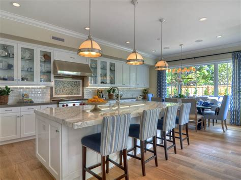 open plan eat in kitchen with oversized island and