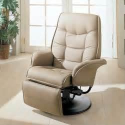 Small Recliner Chair Furniture Leatherette Swivel Recliner Chair In Bone Finish