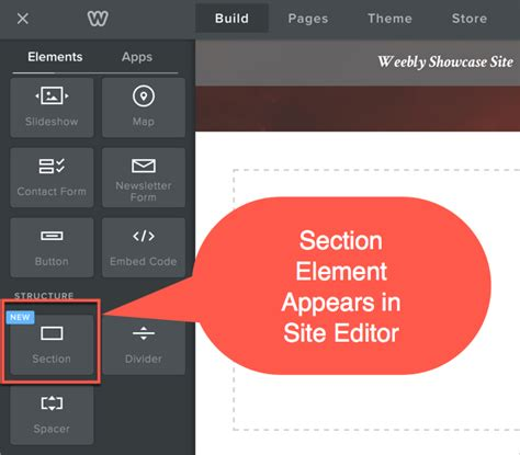 using weebly section element on responsive custom and