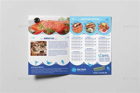 a5 menu template seafood restaurant a5 brochure leaflet template by wutip2
