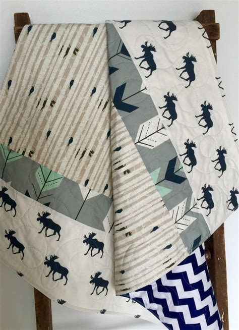 moose crib bedding baby quilt gender neutral woodland baby bedding moose crib