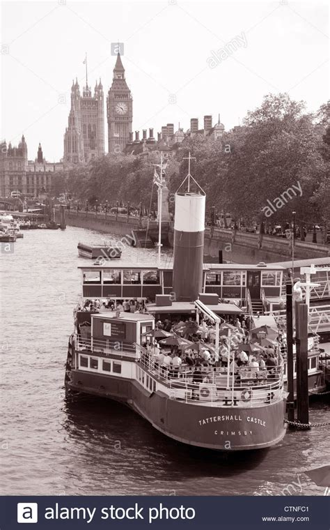 thames river cruise embankment tattershall castle boat river thames london stock photo