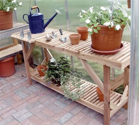 potting bench for greenhouse cedar greenhouse bench 5 garden time pinterest