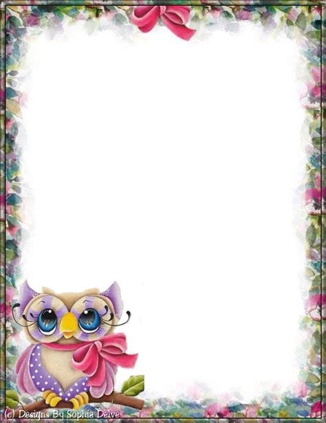 printable stationery owls 113 best borders animals images on pinterest
